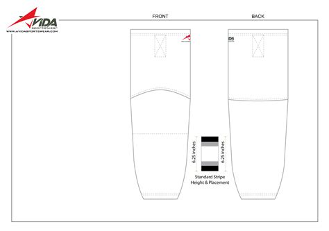Avida Sportswear Sock Sublimation Template