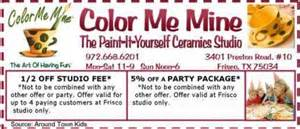 color me mine frisco frisco coupons