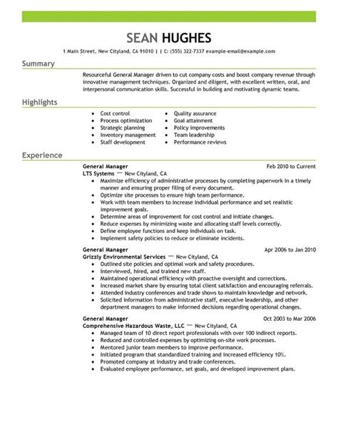 Hotel General Manager Resume by Hotel General Manager Resume Template Resume Builder