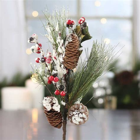 christmas floral picks and stems snowy artificial pine picks and stems floral supplies craft supplies
