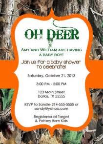 oh deer real tree camo baby shower invitation or birthday invitation or boy