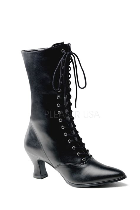 tie up boots black lace up mid calf boots faux leather