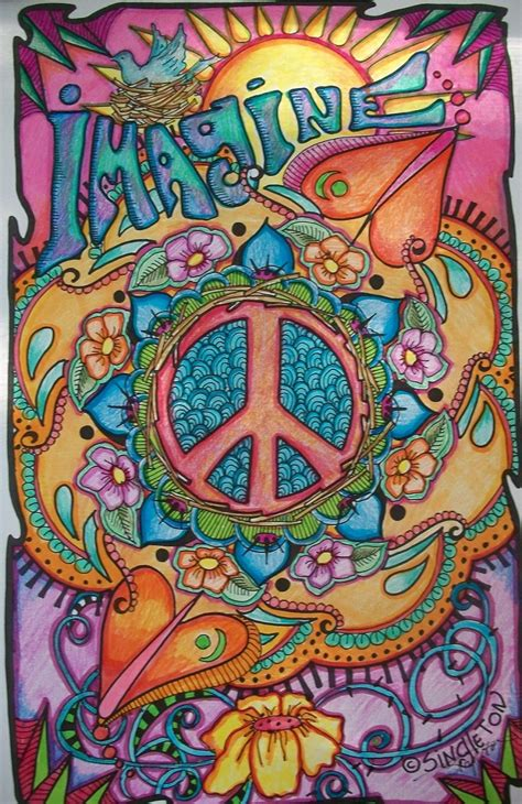 hippie drawing just give me peace