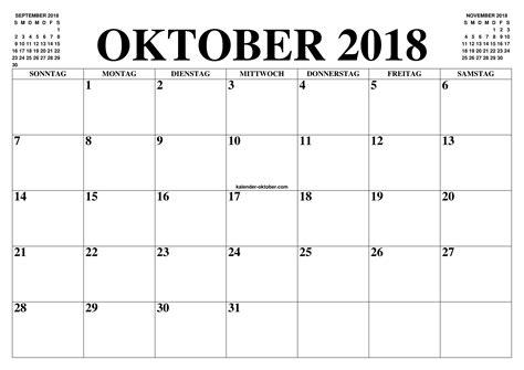Kalender Online Drucken Monat by Kalender Oktober 2018 Zum Ausdrucken Piku