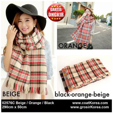 Scarf Syal Wanita 47 perlengkapan musim dingin wanita 3 color two sided scarf 02576c coat korea