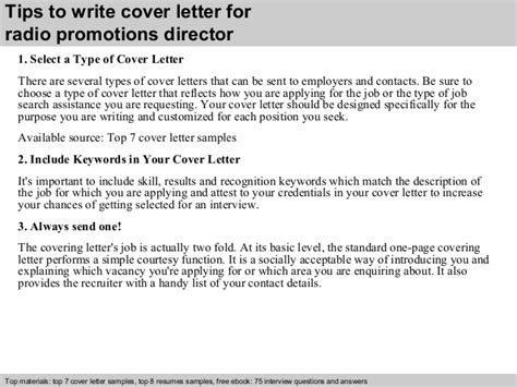 why write a cover letter radio promotions director cover letter