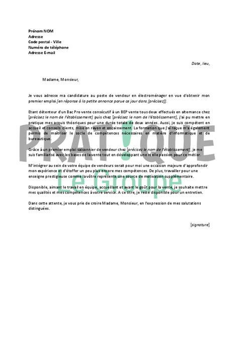 Lettre De Motivation Vendeuse En Téléphonie Debutant lettre de motivation pour emploi vendeur application
