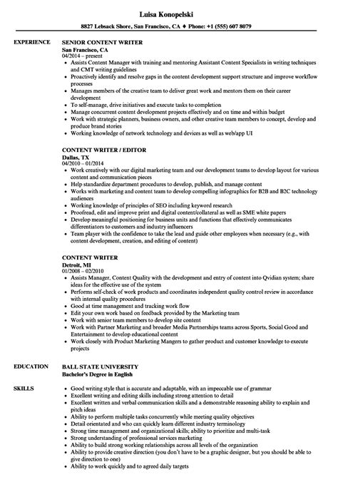 Content Writer Resume by Content Writer Resume Sles Velvet