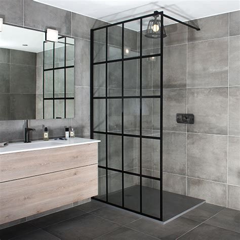 Shower Doors And Screens Black Framed Shower Screens In A Grid Style By Drench