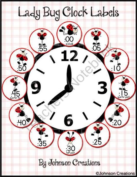 printable clock labels for classroom ladybug clock labels from johnsoncreations from