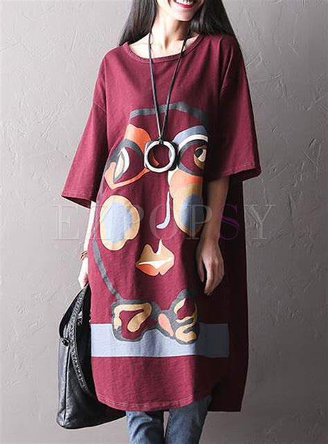 Sleeve Print T Shirt Dress oversized abstract print bat sleeve t shirt dress