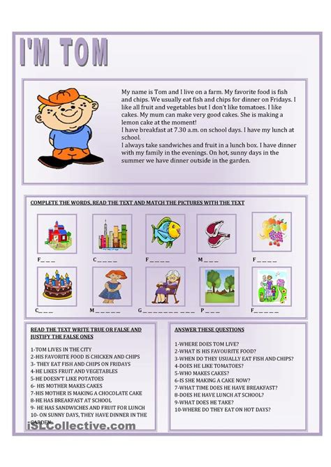 tomcat my reading 22 best images about esl level 1 reading comprehension on