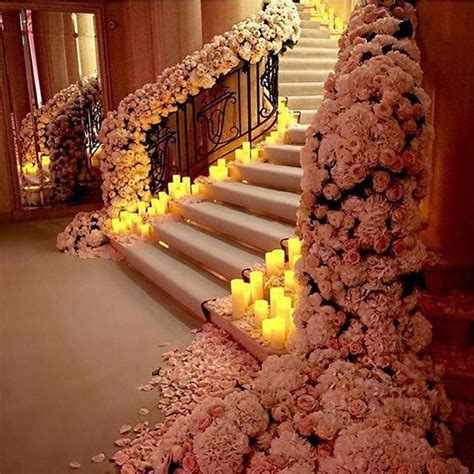 beautiful stairs beautiful stairs with flowers and candles pictures photos