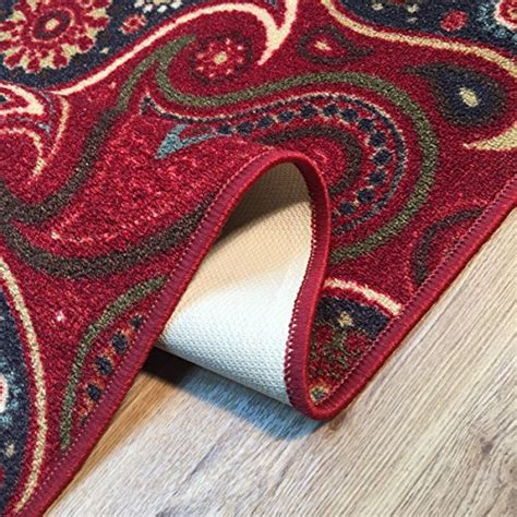 Non Staining Vinyl Backed Rugs by Rubber Back Paisley Floral Non Slip Non Skid Door