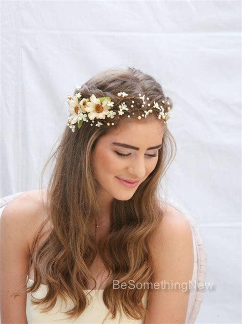 a gold sprayed flower crown wedding hairstyles photos flower halo for wedding flower halo for wedding ayobet