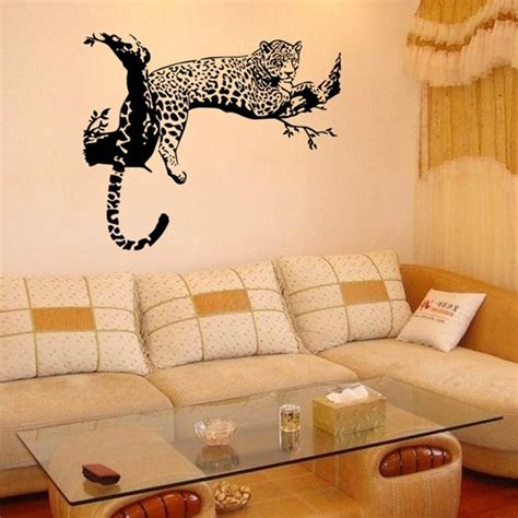 large animal wall stickers large leopard animal wall sticker tiger wall decal mural home decor bla decals