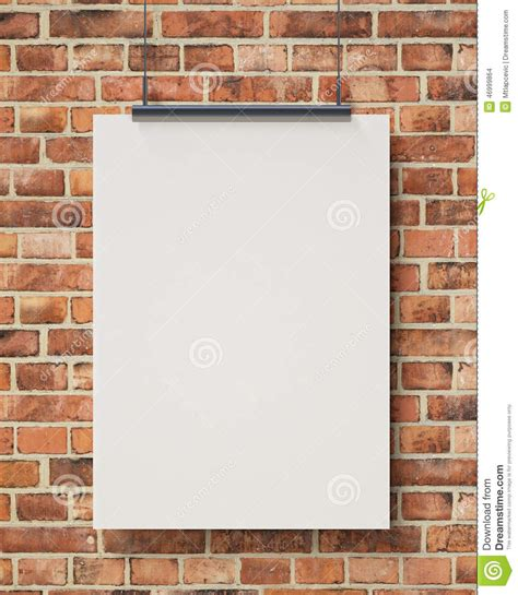 wall post template mock up blank white hanging poster on brick wall