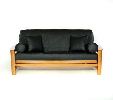 Futon Cover Black lifestyle covers black faux leather futon cover size new ebay