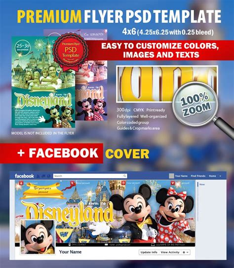 Travel To Disney Land Psd Flyer Template 5194 Styleflyers Disney Flyer Template