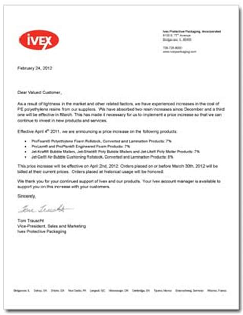 Customer Letter Of Price Increase Foam And Increases March 2012