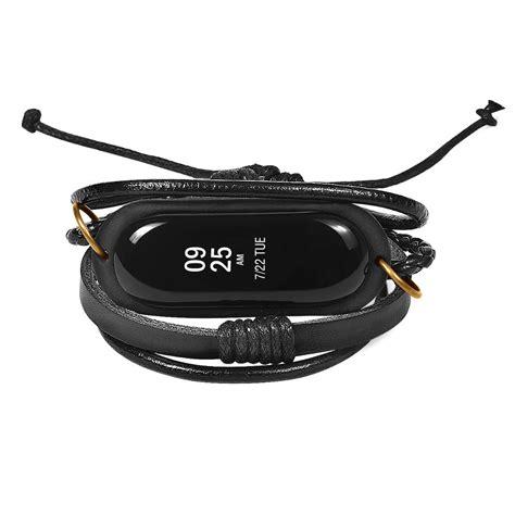Xiaomi Mi Band Bracelet Black leather braided replacement for xiaomi mi band 3 black