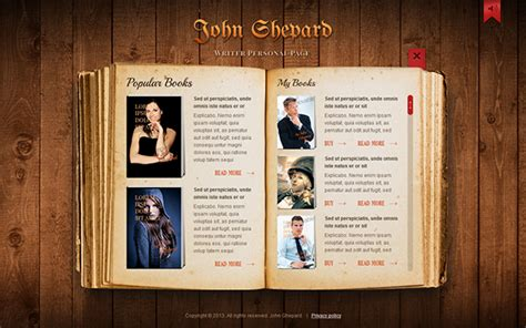 John Shepard Writer Personal Page Html5 Template On Behance Best Website Templates For Writers