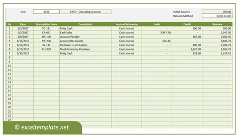 Excel Ledger Template General Ledger Excel Templates