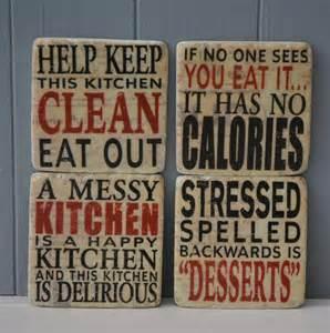 happy kitchen phrases coasters set of four