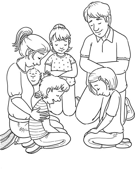 lds coloring pages praying family prayer