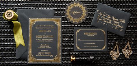 Wedding Invitations Black Paper by Gold And Silver Foil Wedding Invitations Foiled Invitations