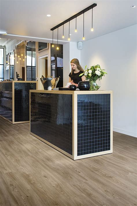 Tiled Reception Desk by Black Wood Reception Desk With Ambient Lighting