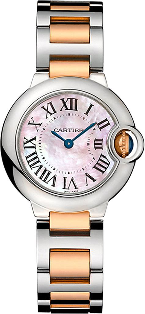 cartier ballon bleu de 18ct pink gold and steel