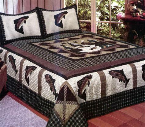 fishing bedding fisherman s wharf 3 pc queen quilt bedding set cabin lake river fishing print ebay