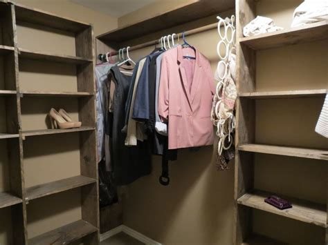 Built In Wooden Shelves Closet How To Customize A Closet For Improved Storage Capacity