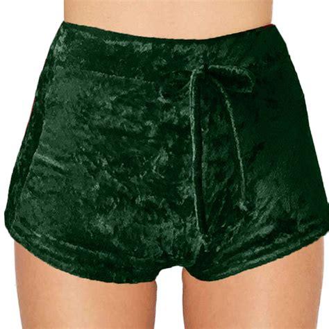 Drawstring Shorts fashion warm crushed velvet high waist