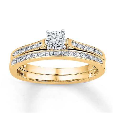 diamond bridal set 1 8 ct tw round cut 10k yellow gold 99138180399 kay