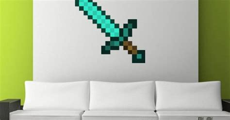 Handmade Minecraft - handmade reusable minecraft sword wall decal