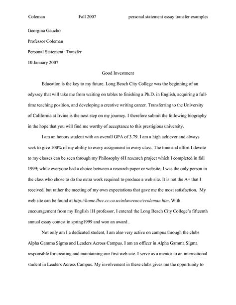 Example Of A Good Resume For A College Student by Uc Transfer Essay