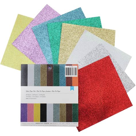 american crafts glitter paper pad 6 x 6 inches 24 pack