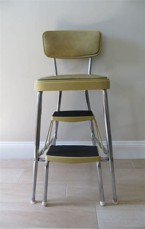 step stool with seat and back vintage mid century step stool with cushioned seat and back