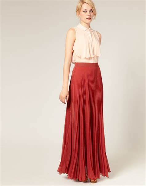 asos collection asos pleated maxi skirt in darkrose