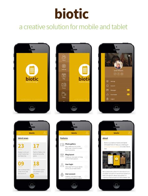 mobile templates biotic mobile and tablet creative template by sindevo