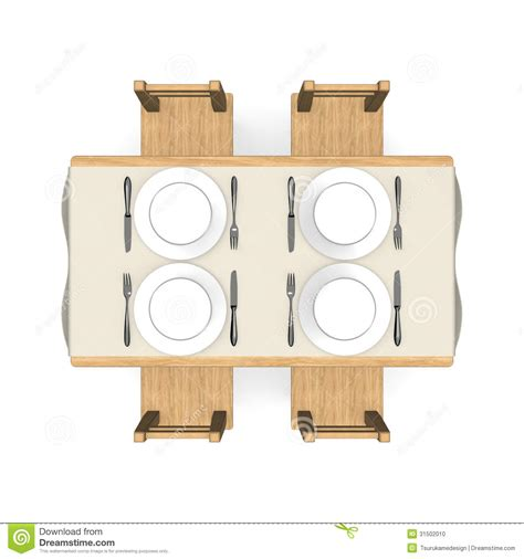 White Dining Room Table Set by Cutlery On Wooden Dining Table Top View Stock Photo