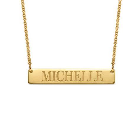 engraved bar necklace in 18k gold plating mynamenecklace