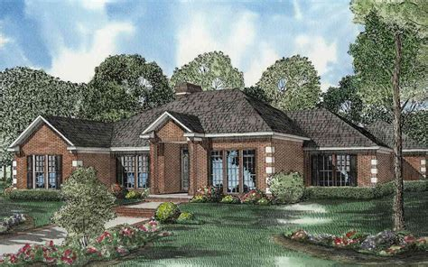 Traditional Brick House Plans by One Level Traditional Brick House Plan 59640nd