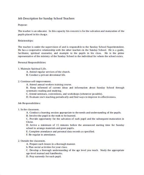 Sunday School Description Template 12 Teacher Job Description Sles Sle Templates