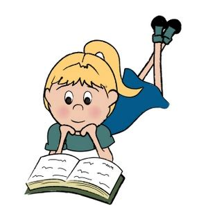reading cartoon clipart image girl or child reading a book
