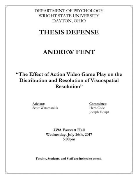 thesis defense script the thesis defense effect of play on