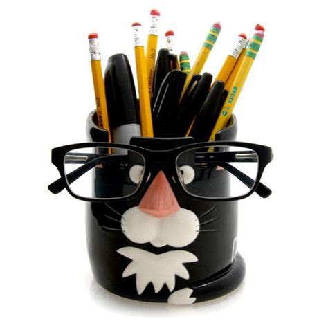cat pencil cup and glasses holder gift for cat lover