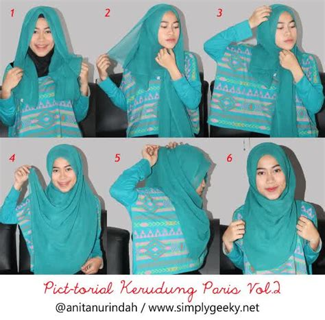 tutorial hijab  memakai jilbab segi empat sederhana